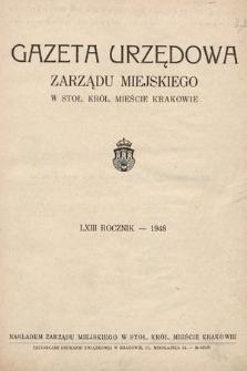 Gazeta Urzędowa Zarządu Miejskiego w Stoł. Król. Mieście Krakowie. 1948 [całość]