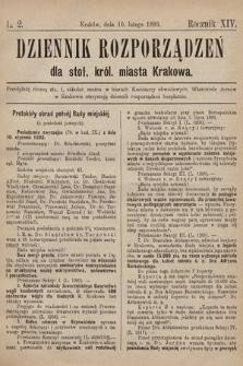 Dziennik Rozporzadzeń dla Stoł. Król. Miasta Krakowa. 1893, L.2
