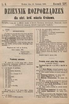 Dziennik Rozporzadzeń dla Stoł. Król. Miasta Krakowa. 1893, L.4