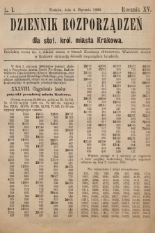 Dziennik Rozporzadzeń dla Stoł. Król. Miasta Krakowa. 1894, L.1