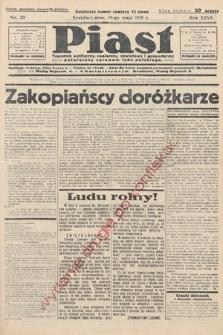 Piast : tygodnik polityczny, społeczny, oświatowyi gospodarczy, poświęcony sprawom ludu polskiego. 1938, nr20