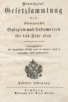 Provinzial-Gesetzsammlung des Königreichs Galizien und Lodomerien. 1828