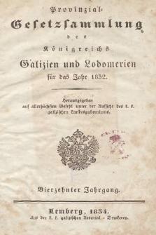 Provinzial-Gesetzsammlung des Königreichs Galizien und Lodomerien. 1832