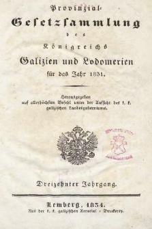 Provinzial-Gesetzsammlung des Königreichs Galizien und Lodomerien. 1831