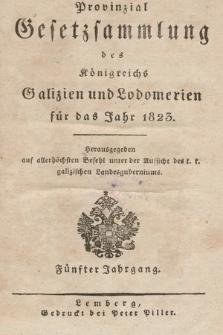 Provinzial-Gesetzsammlung des Königreichs Galizien und Lodomerien. 1823