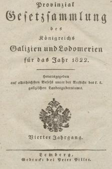 Provinzial-Gesetzsammlung des Königreichs Galizien und Lodomerien. 1822
