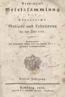 Provinzial-Gesetzsammlung des Königreichs Galizien und Lodomerien. 1829