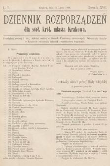 Dziennik Rozporządzeń dla Stoł. Król. Miasta Krakowa. 1896, L.7