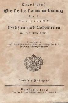 Provinzial-Gesetzsammlung des Königreichs Galizien und Lodomerien. 1830