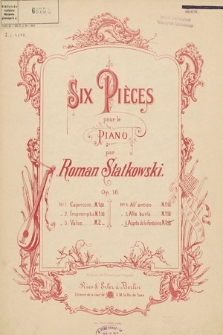 Six pièces : pour le piano. Op. 16 no. 6, Auprès de la fontaine