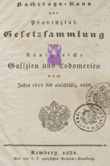 Nachtrags-Band zur Provinzial Gesetzsammmlung der Königreiche Galizien und Lodomerien vom Jahre 1819 bis einschlüssig 1926
