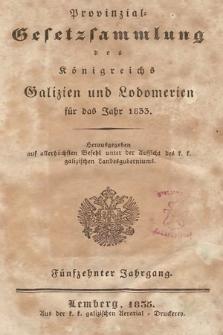 Provinzial-Gesetzsammlung des Königreichs Galizien und Lodomerien. 1833