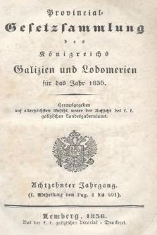 Provinzial-Gesetzsammlung des Königreichs Galizien und Lodomerien. 1836