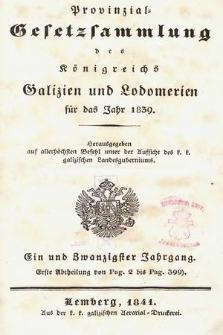Provinzial-Gesetzsammlung des Königreichs Galizien und Lodomerien. 1839