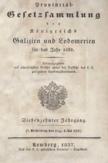 Provinzial-Gesetzsammlung des Königreichs Galizien und Lodomerien. 1835