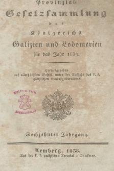 Provinzial-Gesetzsammlung des Königreichs Galizien und Lodomerien. 1834