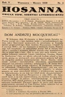 Hosanna : miesięcznik muzyki kościelnej : organ Tow. Muzyki Liturgicznej. 1930, nr3