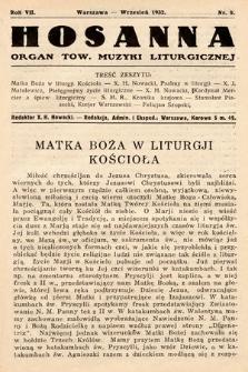 Hosanna : miesięcznik muzyki kościelnej : organ Tow. Muzyki Liturgicznej. 1932, nr9