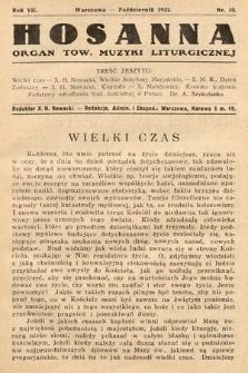 Hosanna : miesięcznik muzyki kościelnej : organ Tow. Muzyki Liturgicznej. 1932, nr10