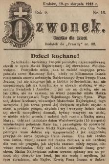 Dzwonek : gazetka dla dzieci. 1913, nr16