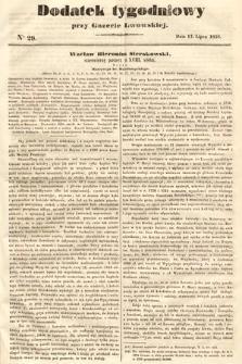 Dodatek Tygodniowy przy Gazecie Lwowskiej. 1858, nr29