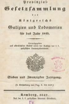Provinzial-Gesetzsammlung des Königreichs Galizien und Lodomerien. 1845
