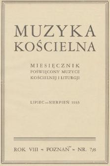 Muzyka Kościelna : miesięcznik poświęcony muzyce kościelnej i liturgji. 1933, nr7-8