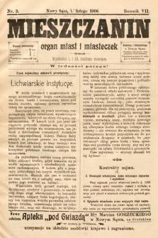 Mieszczanin : organ miast i miasteczek. 1906, nr3