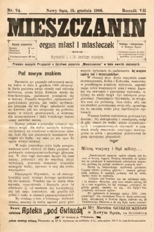 Mieszczanin : organ miast i miasteczek. 1906, nr24