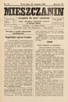 Mieszczanin : czasopismo dla miast i miasteczek : organ Związku właścicieli realności w Nowym Sączu. 1908, nr18