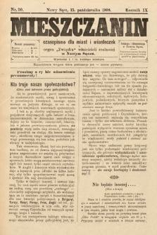 Mieszczanin : czasopismo dla miast i miasteczek : organ Związku właścicieli realności w Nowym Sączu. 1908, nr20