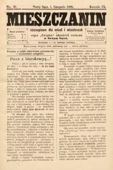 Mieszczanin : czasopismo dla miast i miasteczek : organ Związku właścicieli realności w Nowym Sączu. 1908, nr21