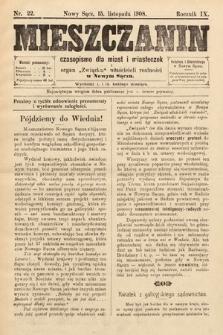 Mieszczanin : czasopismo dla miast i miasteczek : organ Związku właścicieli realności w Nowym Sączu. 1908, nr22