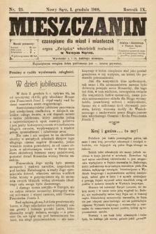 Mieszczanin : czasopismo dla miast i miasteczek : organ Związku właścicieli realności w Nowym Sączu. 1908, nr23