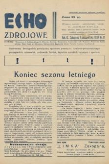 Echo Zdrojowe : ilustrowany dwutygodnik poświęcony sprawom przemysłu hotelowo-pensjonatowego, propagandzie zdrojowisk, uzdrowisk, letnisk, kapielisk morskich, turystyce i sportom. 1934, nr17