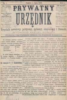 Prywatny Urzędnik : tygodnik zawodowy, polityczny, społeczny, ekonomiczny i literacki. 1900, nr1