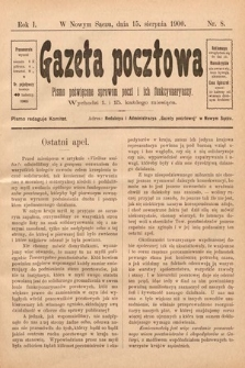 Gazeta Pocztowa : pismo poświęcone sprawom poczt i ich funkcyonaryuszy. 1900, nr8
