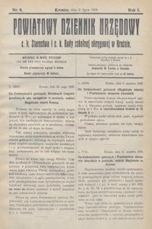 Powiatowy Dziennik Urzędowy c.k. Starostwa i c.k. Rady szkolnej okręgowej wKrośnie. 1909, nr8