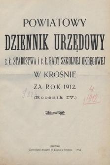 """Spis alfabetyczny treści """"Powiatowego Dziennika Urzędowego"""" z roku 1912"""
