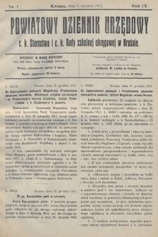 Powiatowy Dziennik Urzędowy c.k. Starostwa i c.k. Rady szkolnej okręgowej wKrośnie. 1912, nr1