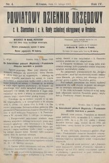 Powiatowy Dziennik Urzędowy c.k. Starostwa i c.k. Rady szkolnej okręgowej wKrośnie. 1912, nr4