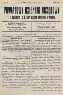 Powiatowy Dziennik Urzędowy c.k. Starostwa i c.k. Rady szkolnej okręgowej wKrośnie. 1912, nr5