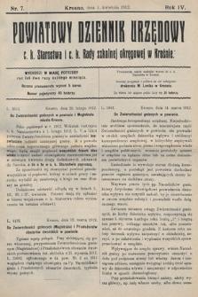 Powiatowy Dziennik Urzędowy c.k. Starostwa i c.k. Rady szkolnej okręgowej wKrośnie. 1912, nr7