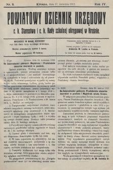 Powiatowy Dziennik Urzędowy c.k. Starostwa i c.k. Rady szkolnej okręgowej wKrośnie. 1912, nr8
