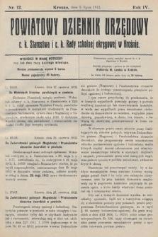 Powiatowy Dziennik Urzędowy c.k. Starostwa i c.k. Rady szkolnej okręgowej wKrośnie. 1912, nr12