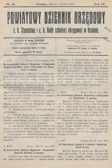 Powiatowy Dziennik Urzędowy c.k. Starostwa i c.k. Rady szkolnej okręgowej wKrośnie. 1912, nr15