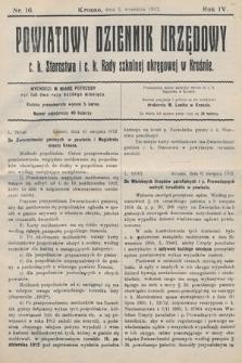 Powiatowy Dziennik Urzędowy c.k. Starostwa i c.k. Rady szkolnej okręgowej wKrośnie. 1912, nr16