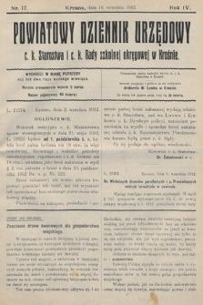 Powiatowy Dziennik Urzędowy c.k. Starostwa i c.k. Rady szkolnej okręgowej wKrośnie. 1912, nr17