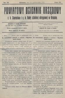 Powiatowy Dziennik Urzędowy c.k. Starostwa i c.k. Rady szkolnej okręgowej wKrośnie. 1912, nr19