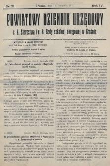 Powiatowy Dziennik Urzędowy c.k. Starostwa i c.k. Rady szkolnej okręgowej wKrośnie. 1912, nr21